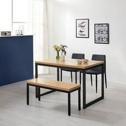 모던블랙 슬로 4인 식탁 세트 벤치형 (508)