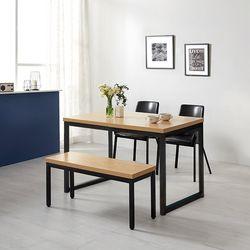모던블랙 슬로 4인 식탁 세트 벤치형 (506)