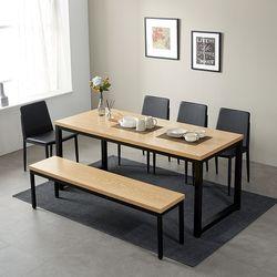 모던블랙 슬로 8인 식탁 세트 벤치형 (508)