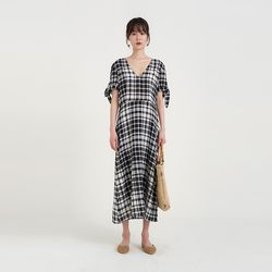 ribbon point check one-piece (2colors)