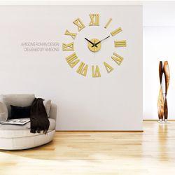 무소음 대형DIY 인테리어벽시계 로만 파스텔옐로우