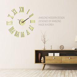 붙이는 벽시계 인테리어 DIY시계 로만 파스텔그린