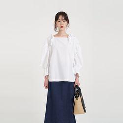 ribbon shoulder blouse (2colors)