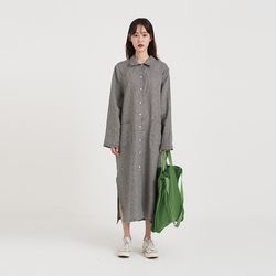 post check linen one-piece