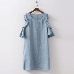 Linen Frill Off Dress