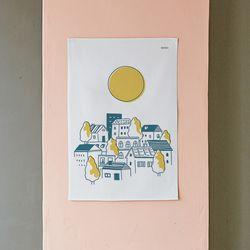 달 일러스트 패브릭 포스터.가리개커튼 (M 사이즈)