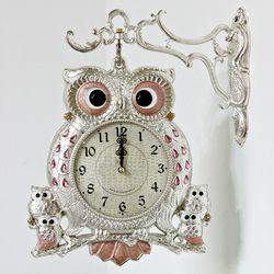 (kspz232)스틸리아 부엉이 양면시계 핑크S