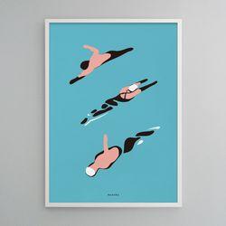유니크 인테리어 디자인 포스터 M 수영 A1(특대형)