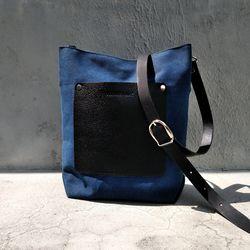 캔버스 블루 cross bag