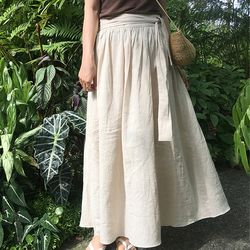 glossy ribbon linen skirt
