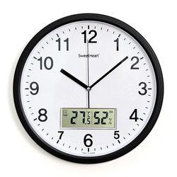 무소음온습도벽시계350블랙