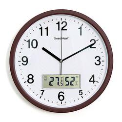 무소음온습도벽시계350브라운