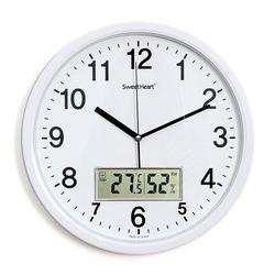 무소음온습도벽시계350화이트