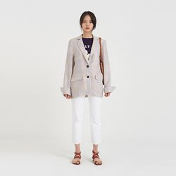 linen check single jacket (2colors)