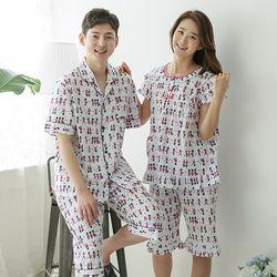 [무료배송] 쁘띠쁘랑호두깍기병정순면 커플잠옷