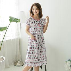[무료배송] 쁘띠쁘랑호두깍기병정순면 반팔 캐주얼원피스잠옷