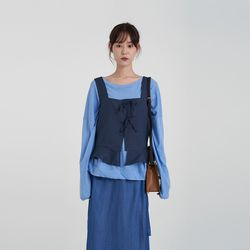 ribbon square vest (3colors)