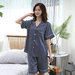 [무료배송] 쁘띠쁘랑네이비스트라이프실크 반팔 여성잠옷