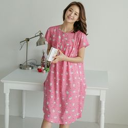 쁘띠쁘랑러브도치레이온 반팔 원피스잠옷 핑크