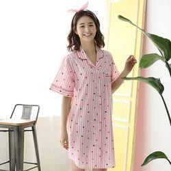 [무료배송] 쁘띠쁘랑러블리스트라이프순면 반팔 셔츠원피스잠옷