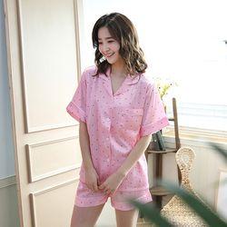[무료배송] 쁘띠쁘랑엔젤스트라이프실크 반팔 3부바지여성잠옷