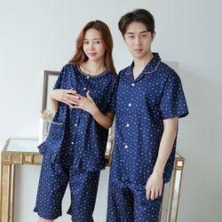 [무료배송] 쁘띠쁘랑별달 반팔 커플잠옷