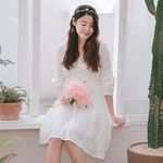 레이스 미니 숏 셀프웨딩원피스 브라이덜샤워 드레스