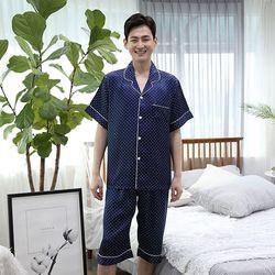 쁘띠쁘랑도트실크 반팔 남성잠옷