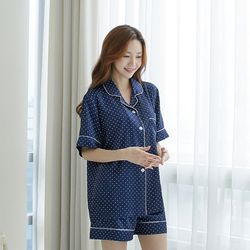 쁘띠쁘랑도트실크 3부바지 여성잠옷
