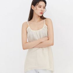 shirring neck linen sleeveless