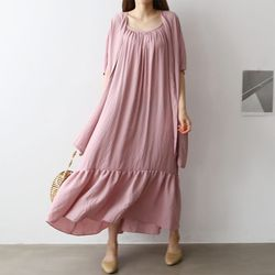 Shirring Sleeveless Maxi Dress