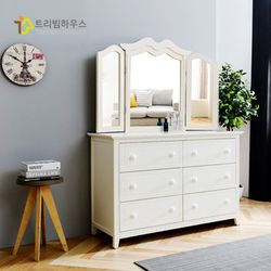 T-NIA 도장 와이드 서랍장 거울