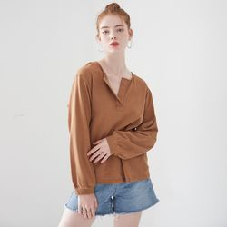 HENLEY NECK LONG SLEEVES TOP(CAMEL)