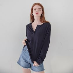 HENLEY NECK LONG SLEEVES TOP(NAVY)