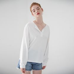 HENLEY NECK LONG SLEEVES TOP(WHITE)
