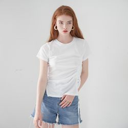 STRING DETAIL HALF SLEEVES TOP(WHITE)