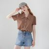 FLAT COLLAR CROP BLOUSE(BROWN)
