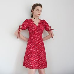 STRAP POINT FLORAL ONEPIECE(RED)