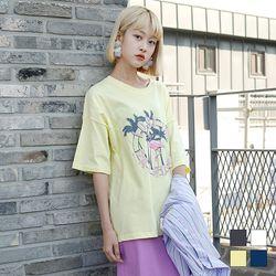 2177 홍학 프린팅 반팔 티셔츠 (4colors)