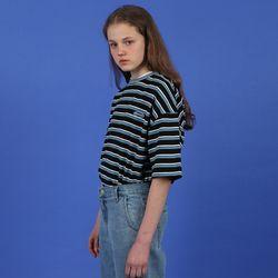[N] Patch logo stripe tshirt-black