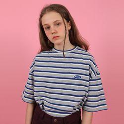 [N] Patch logo stripe tshirt-gray