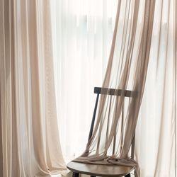 포그 쉬폰 커튼-beige(나비주름형)