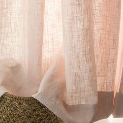 포레스트 린넨 커튼-pail pink(나비주름형)