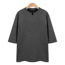 포인트 라운드넥 7부 차콜 티셔츠CMT014