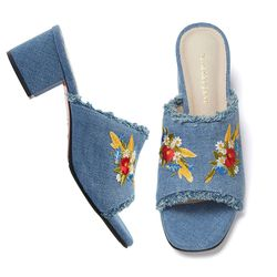 PP8005 Embroidery Denim Mule