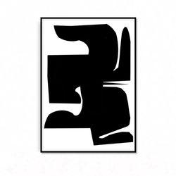 패브릭 포스터 추상화 인테리어 액자 블랙 1 [중형]