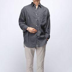 [매트블랙] 린넨 깅엄 체크 셔츠