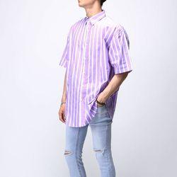 [매트블랙] 로즈 스트라이프 반팔 셔츠