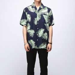 [매트블랙] 파자마 야자수 반팔 셔츠