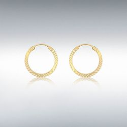 [런던골드 9ct Gold] Diamond Cut 12.5mm Earrings